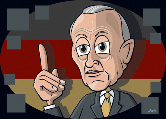 Konrad Adenauer Cartoon Portrait