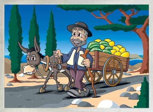 Melonenhändler mit Rhmen