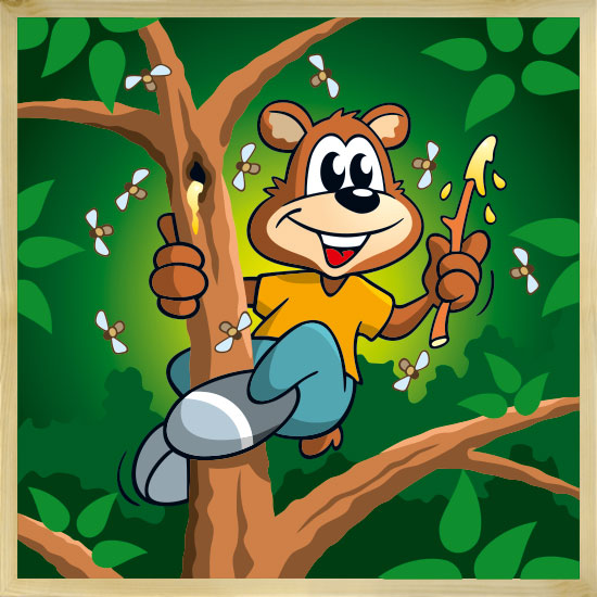 Honigbär mit Rahmen