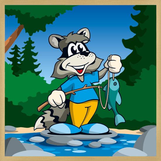 Fishing Racoon mit Rahmen
