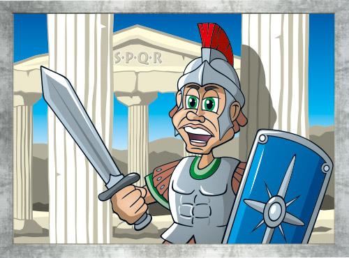 SPQR History Cartoon mit Rahmen