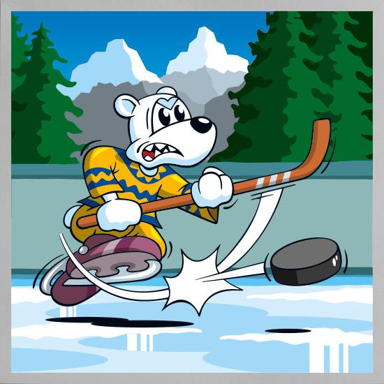 Serie tierisch sportlich - Icebear Hockey mit Rahmen