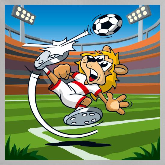 Serie tierisch sportlich - Soccer Lion mit Rahmen