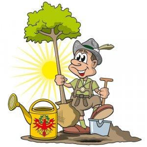 Cartoon Tirol Baum pflanzen