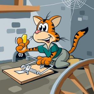 Cartoon Katze Jäger & Sammler