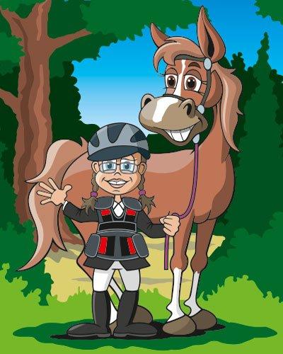 Portrait Cartoon Mädchen mit Pferd